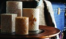 Damask Leaf and Fleur De Lis design candles from Andy Home
