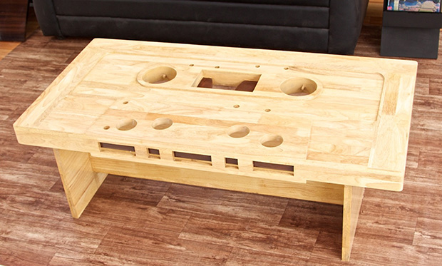 shaped from treated rubber wood the cassette coffee table may not
