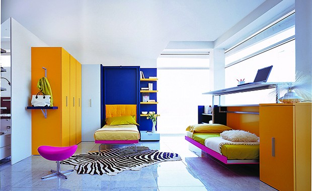 Designing a small kid's bedroom is no longer an impossible task. Pick up smart and space conserving furniture like the LGS-Design from Italy's Clei available with Mumbai-based Ekseption and you're sorted. It is offered in several day versions, which, through a rotation movement, is transformed into a ready-made bed with wooden slats.
