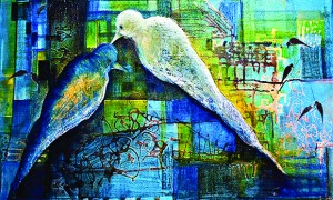 9,LOVE BIRDS,MIXED MEDIUM ON CANVAS,24X36 INCHES, RS 60,000 (Copy) copy