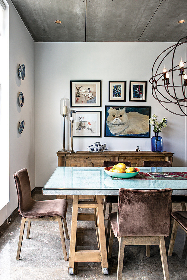 The clutch of wall-mounted art includes lithographs of Salvador Dali, limited edition lithographs of Picasso… and a painting of the great Coco by Hameeda's father in law.