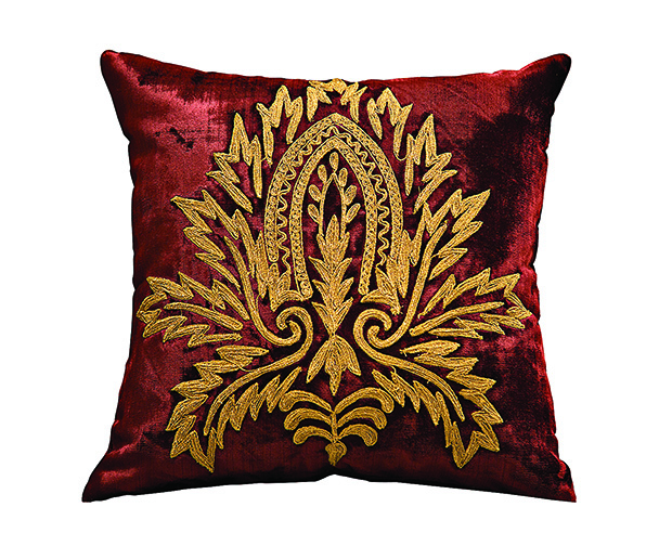 surprise-Cushion with gold cord emroidery on velvet in victorian  motifs by Surprise Home Linen copy