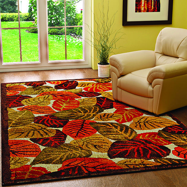 fabfurnish-Riva Olive And Green Contemporary Autumn Leaves Wool Area Rug, Rs6311 (4) copy