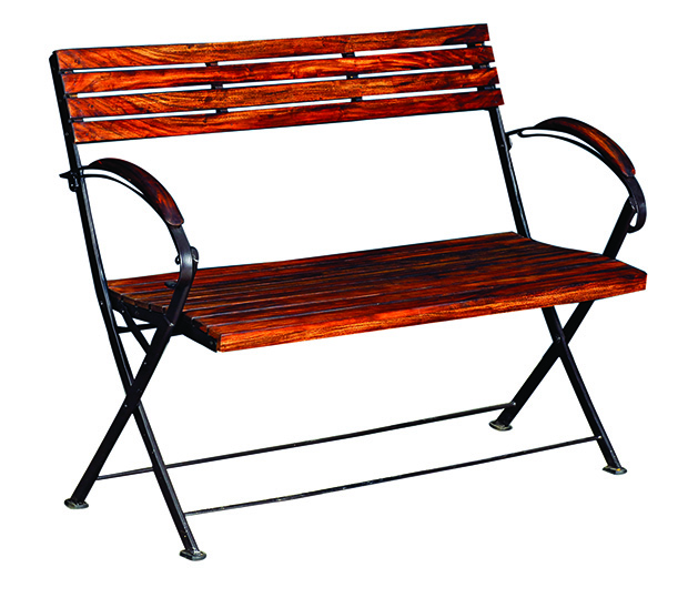 Fabindia-Sheesham wood Iron Bistro 2 Seater Folding Bench WBack  MRP Rs. 8900 copy