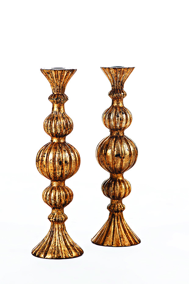 Andy Home-Wooden Candle Holder with Antique Gold Finish - Andy  Home- Price Rs 11,800 per pair copy