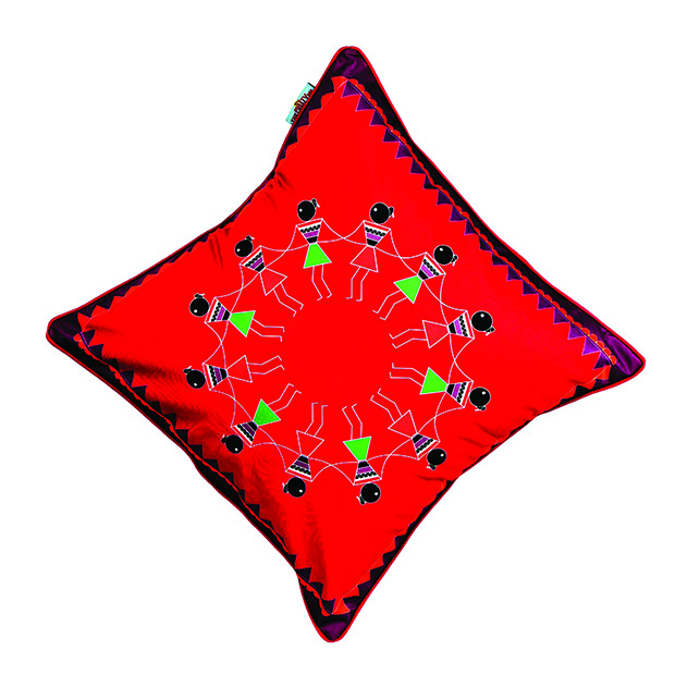 Funcart-Varli Dance Cushion Cover (16 By 16 Inch) copy