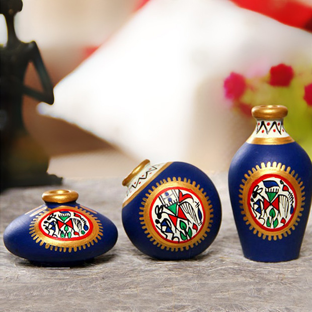 HousefullTerracotta Warli Hand Painted Pot (Set of 3) by Housefull.com_Rs 535 (1) copy
