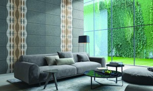 3D rendering of loft apartment interior with green plant wall